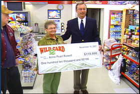 Anna Pearl Rowell receives her $110,000 winning Wild Card check Friday morning from the Idaho Lottery.