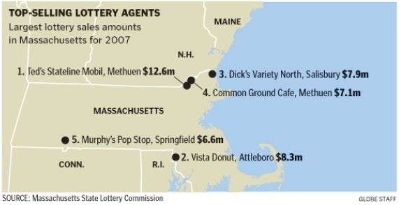 Top-selling lottery agents in Massachusetts for 2007